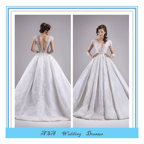 Sexy V neck cap sleeve open back bridal gown satin Puffy dress wedding Princess Ball Gown Ivorywedding dresses 2015(YASA-5086)