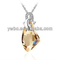 bling diamond with dolphin pendant design love necklace(A101980)