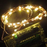Hotsale battery operated christmas 40 micro white color led copper wire String fairy garland light