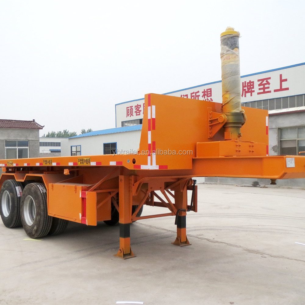 Factory price 50 Ton loading capacity 40ft or 20ft 3 axles truck flatbed dump container semi trailer