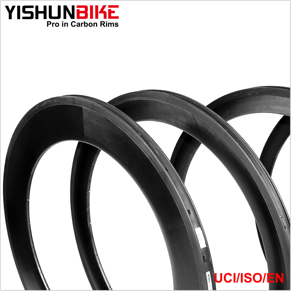 YISHUNBIKE Carbon Bike Rims Clincher 700C Road Wide Aero Road Bicycle Carbon Rims WA8C-TLR
