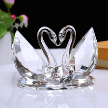 Decorative crystal glass swan