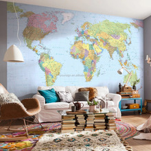 DYI giant world map blue ocean mural wallpaper 3d