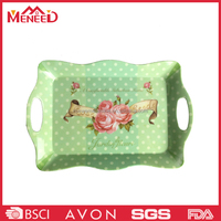 High qualty dot and flower decal printed rectangle melamine plastic tray with hole design handles