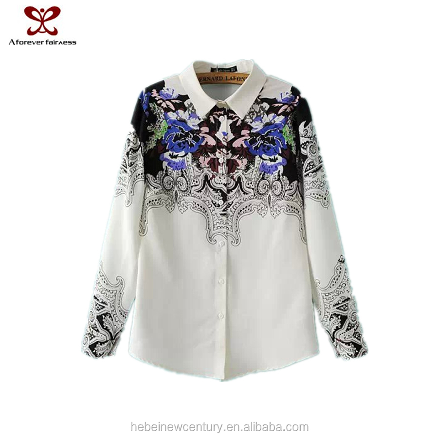 New Fashion Images Of Ladies Casual Tops Restoring Ancient Ways Printed 2015 New Design Chiffon Ladies Blouse
