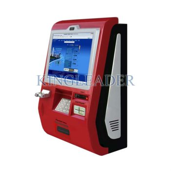 Information self-service wallmount kiosk with camera,handset,metal keypad,cash acceptor,card reader and thermal receipt printer