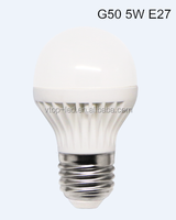 Energy saving G50 5W E26/E27/B22 base LED globle bulb lamp AC110-130V 380lm CRI>80