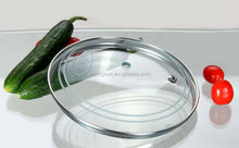 Universal glass lid with middle hole for cooking pot