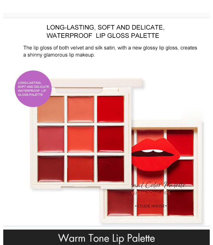 Wholesale 9 colors private labels lip gloss palette, long lasting, soft and delicate, waterproof cosmetics OEM