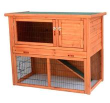 Weather resistant fir wood 2 storey outdoor rabbit hutch with run