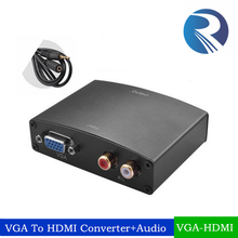 High Quality 1080P VGA to HDMI converter VGA+R/L rca Audio to HDMI converter Box