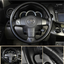DIY hand sewing leather car steering wheel cover with needle and thread