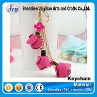 Promotion Colorful Flowers Keyring Metal Material Monogram Tassel Key Chain
