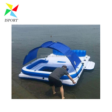 inflatable water floating island /inflatable floating lounge with canopy /Inflatable Island Floating Raft Water Lounge Boat Lake