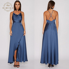Sexy Backless Prom Gown Royal Blue Satin Long Evening Dress