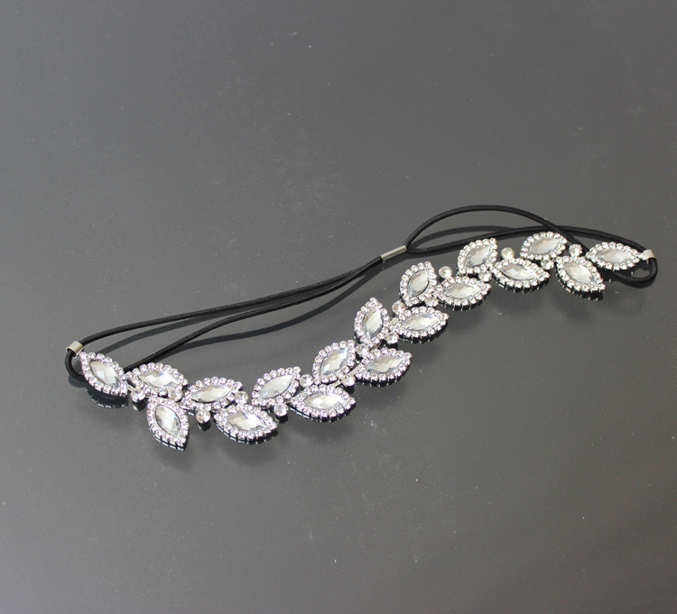 Women rhinestone leaf elastic headband crystal diamond headband