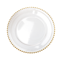gold rim glass beaded charger dishes <strong>plate</strong>