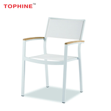 TOPHINE Modern Furniture Outdoor Aluminium Frame Tslin Mesh White Garden Chairs