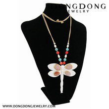 CL026 dragonfly silver plated alloy with diamond latest design turquoise pearl beads necklace