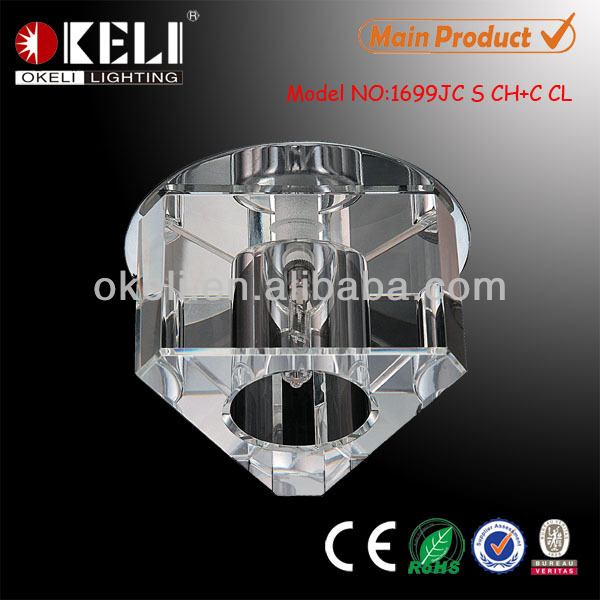 Triangle shape K9 clear crystal recessed spotlight fitting for false ceiling