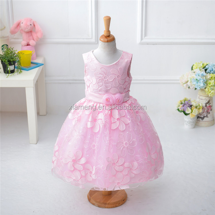 Hotsale sleevess simple party frock designs for girls