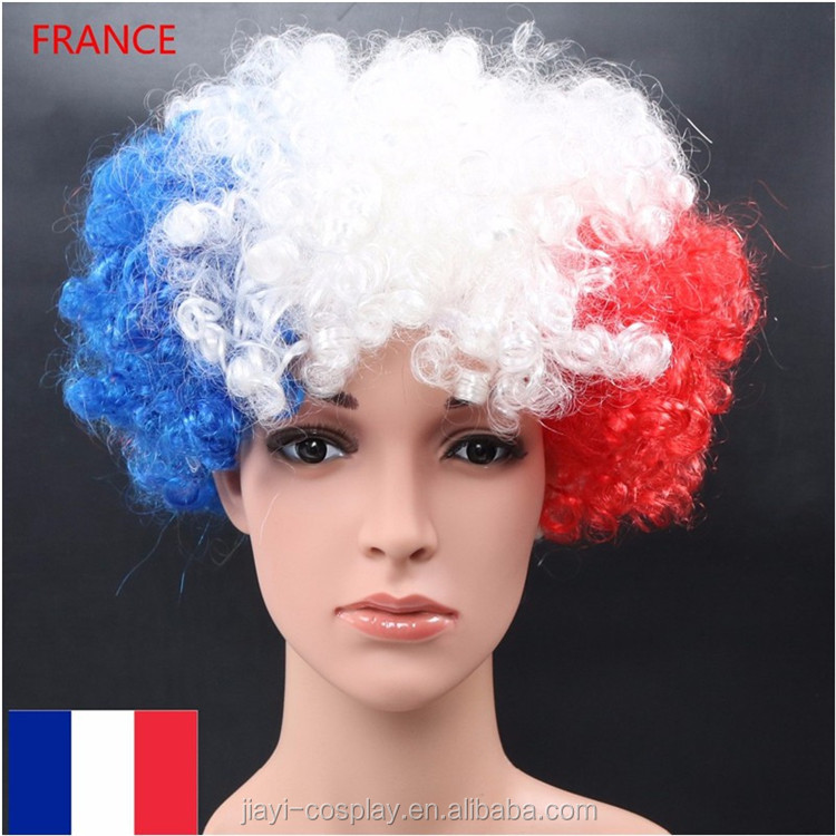 wig factory football fans afro wig blue white red france flag wig