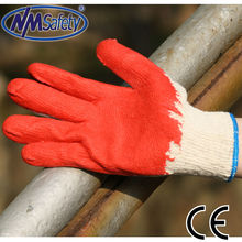 NMSAFETY cheap red latex with palm coating of Poland Turkey Russia style safety gloves