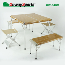 Onwaysports Wood pattern Whole set picnic folding camping table OW-84BM