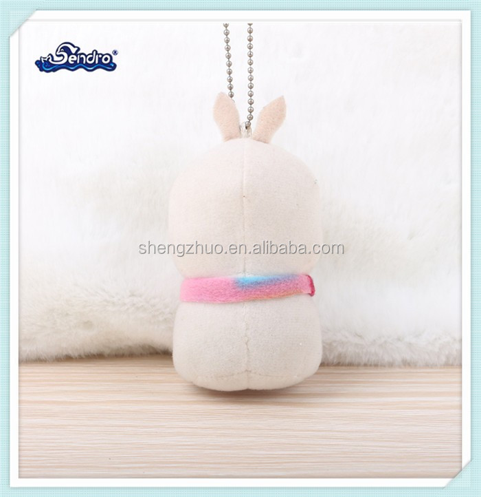 factory wholesale lovely mini plush sleeping white rabbit animal keychain with scarf