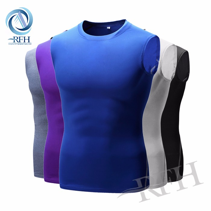 OEM wholesale Custom printing Quick Dry compression Sportswear Men's gym tops