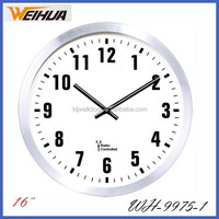 16 inch cheap home decor fashional metal wall clock with radio controlled