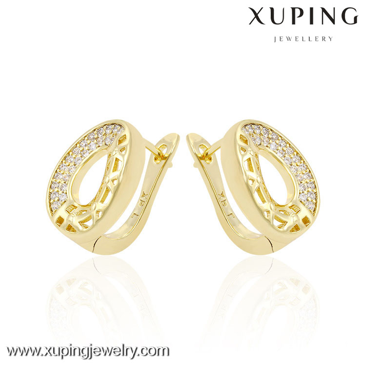 90743 xuping turkish earrings, 14k gold color fancy earrings for party girls, model of gold earring
