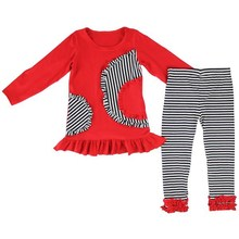 Baby girl ruffle outfit children boutique clothes cotton stripe bulk wholesale kids clothing