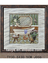 TY-J019 Printing painting picture frame 3d bath tub painting for shower-room decor