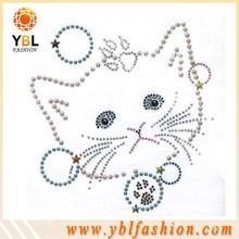 cat design pearl material strass transfer for kids clothing