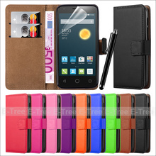 Premium PU Leather Phone Case with Touch Pen and Screen Protector for Alcatel Pixi 3 4.5
