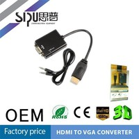 SIPU black color female vga to male hdmi adapter vga to hdmi converter cable multifunction av cable