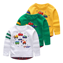 2015 Online Customed Casual Babys Boys 100 cotton Cute Cars Printing T-shirt