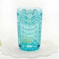 Vintage Pressed Diamond Cut Tumbler Punch Glass Made in China