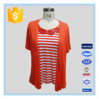 2016 Fashion Lady Fake Two Pieces Stripes Blouse For Red Color