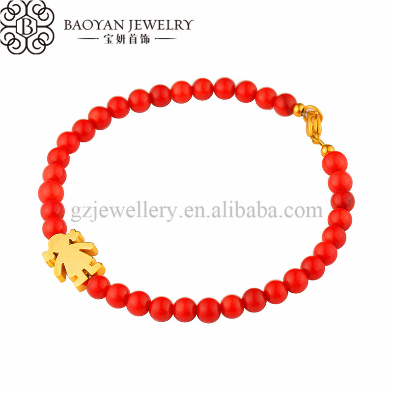 red coral bead gold lucky young gilr charm jewelry bracelet