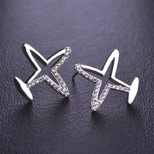 Fashion Kawaii Simple Zircon Crystals Copper Airplane Party Jewelry Stud Earrings For Women and Girls