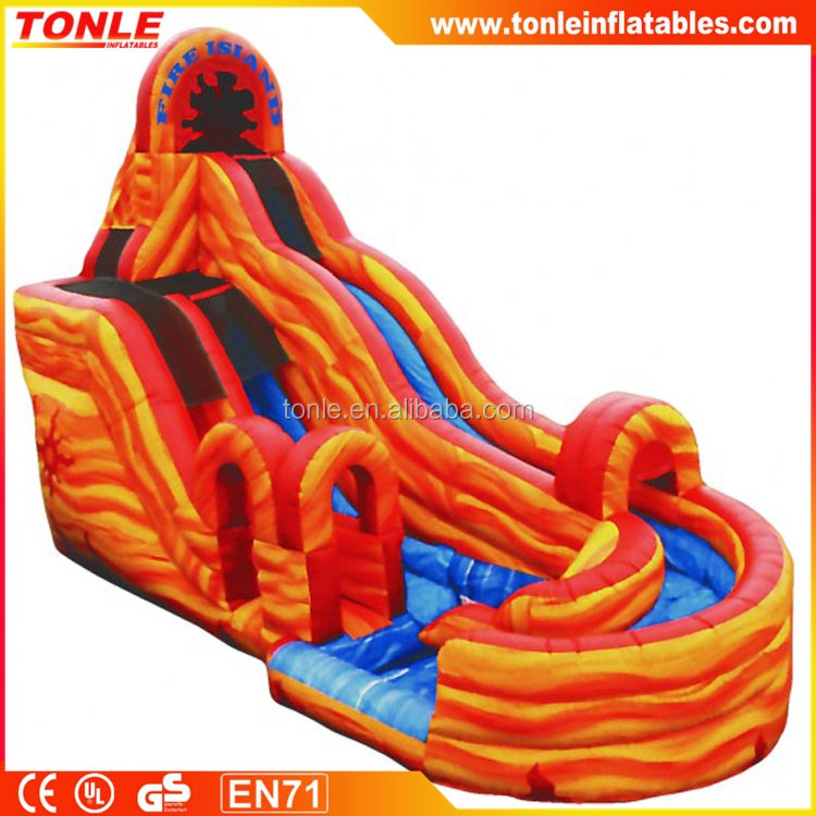 2017 new inflatable 21' Fire Island slide With Landing/pool, inflatable water slide for sale
