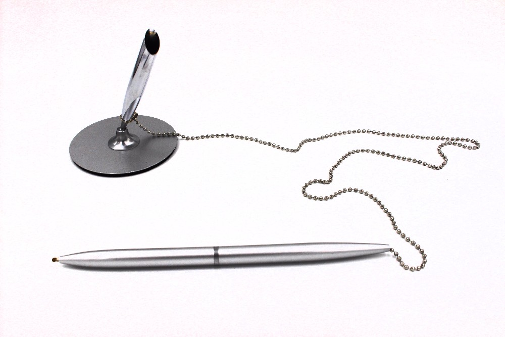 Metal bead chain table pen Metal base ballpoint pen Newest design Metal table pen for Bank and Office gift items