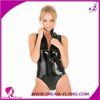 Girls adult clue dance sexy fetish bodysuit romper teddy bondage leather lingerie