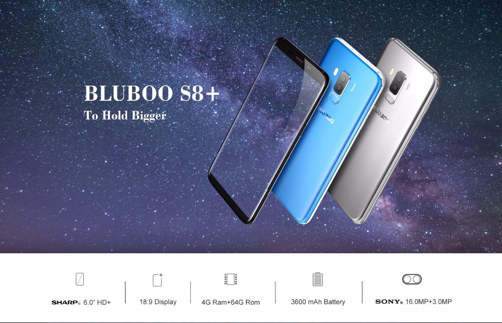 Bluboo S8 Plus MTK6750T Octa Core Android 7.0 Smartphone 4GB RAM 64GB ROM 18:9 Mobile Phone 6″HD Dual Rear Camera Fingerprint