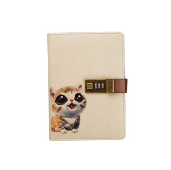 Popular cute cat printing diary with metal lock
