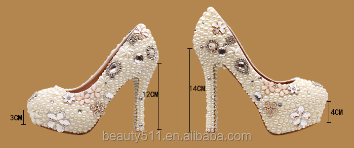 crystal shoes lace women wedding shoes handwork ladies high heel platform shoes WS004