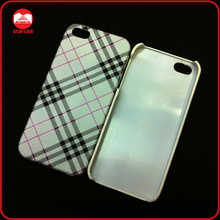Fashion England Plaid Style Leather Skin Hard PC Mobile Phone Case for iphone 5