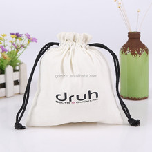 High quality custom made white cotton canvas drawstring bag gift pouch bag